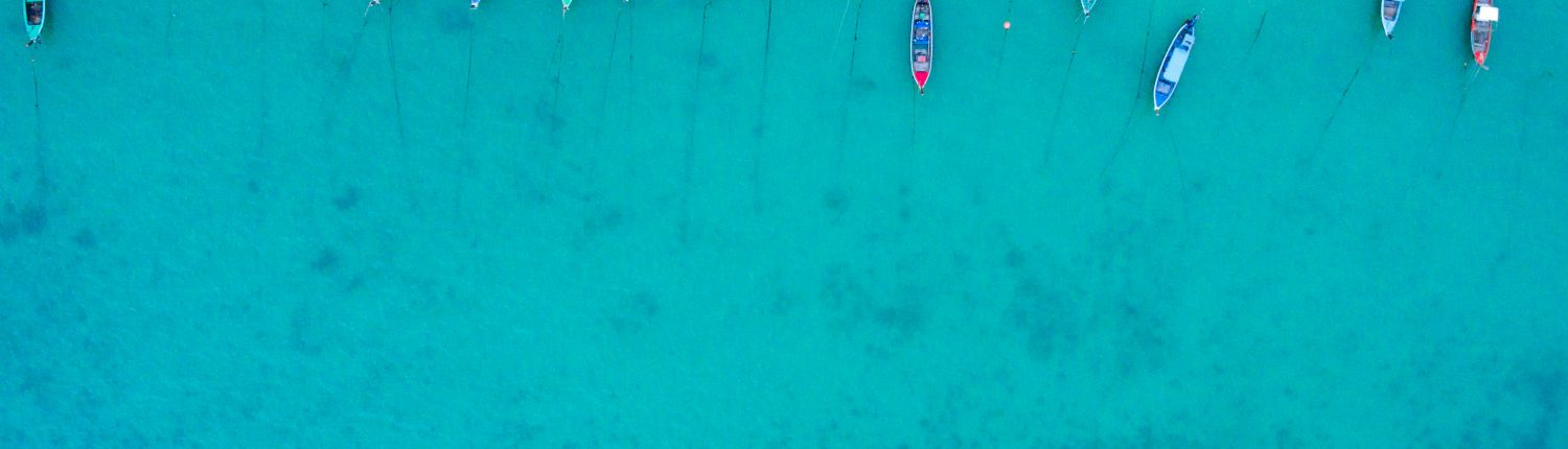 Aerial view of the beach with long tail boat
